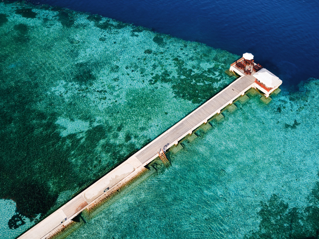 A birdseye view of the House Reef around the jetty.  photo by Didi Lotze