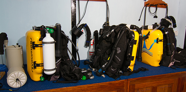 CCR divers have a separate arrangement for setting up and maintaining their systems. Photo by Walt Stearns