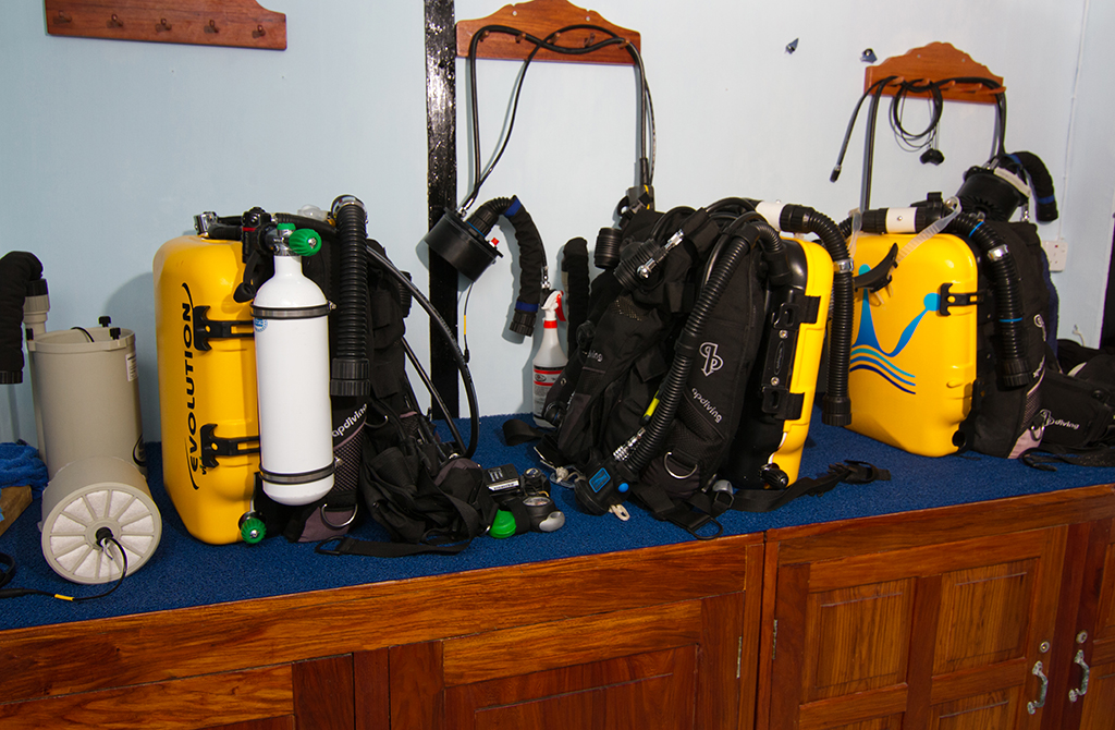 A dedicated area in the dive center enables CCR divers to work on their systems pre and post dive as necessary.    Photo by Walt Stearns