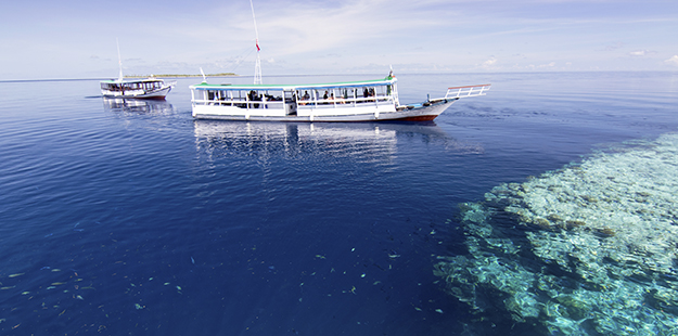 Wakatobi's dive boats are very spacious and provide ample protection from the elements, while convenient schedules and returns to the resort between dives offer parents opportunities to check in on the kids and still not miss out on any of the dives. Photo by Walt Stearns