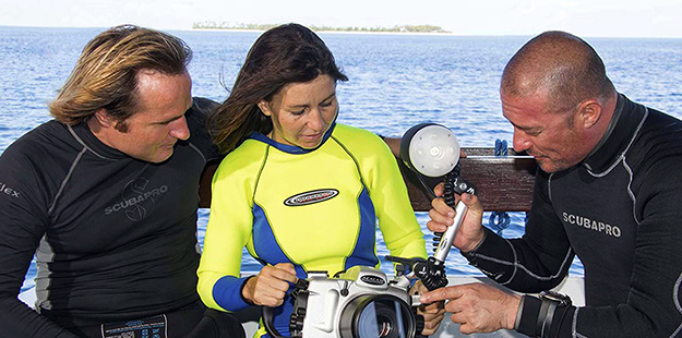 Whether you are new to underwater photography or are a more seasoned veteran, Wakatobi's photo pro can tailor a program or even a single session to fit your specific needs. Photo by Walt Stearns