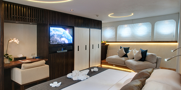 The master suite occupies the entire bow on the main deck and provides all the comforts of five-star hotel suite. Photo by Didi Lotze