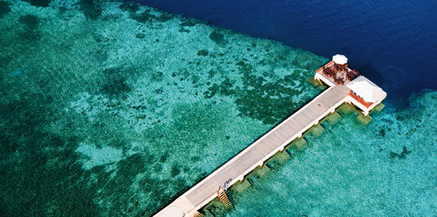 A birdseye view of the House Reef surrounding the Wakatobi jetty.