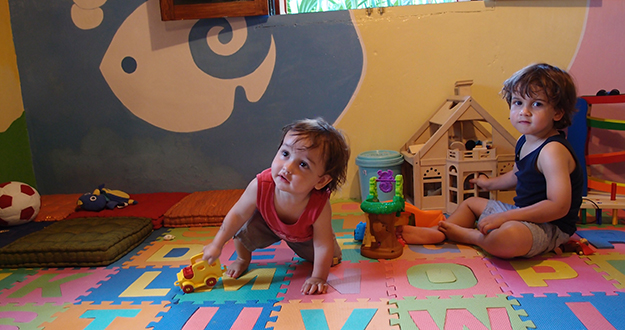 The Hochgrebe boys having some fun in the Wakatobi Kid's Club playroom.
