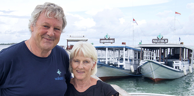 Wayne and Pam Osborn. Photo by Wakatobi Resort