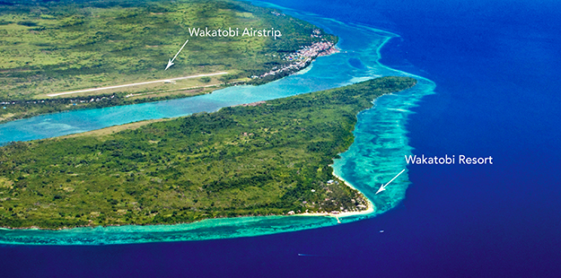 Wakatobi airstrip and resort marker
