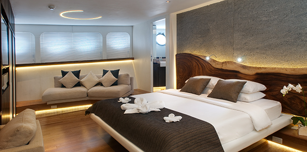 Comfortable yacht-like accommodations throughout Pelagian are more akin to those found in a luxury hotel suite; for example, the master suite spans the entire width of the yacht.