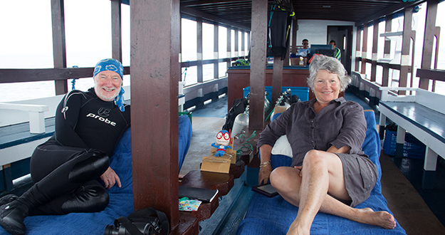 Photographers Wade and Robyn Hughes enjoy the flexibility a private boat charter offers.