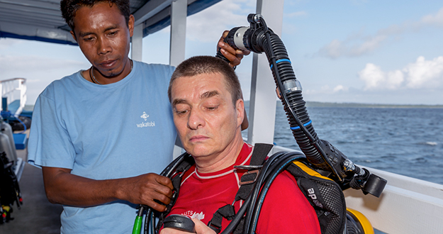 Wakatobi's dive team understand the equipment and profiles of CCR divers and are there to provide support and assistance as needed.