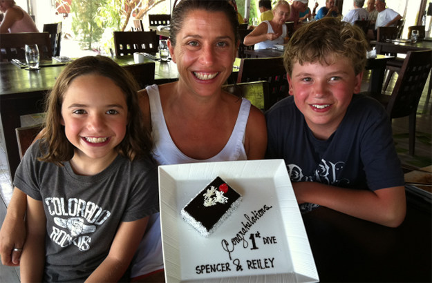 Spencer and Reiley celebrated with mom, Gabi, on their very first dive at Wakatobi. Photo by Stephen Frink