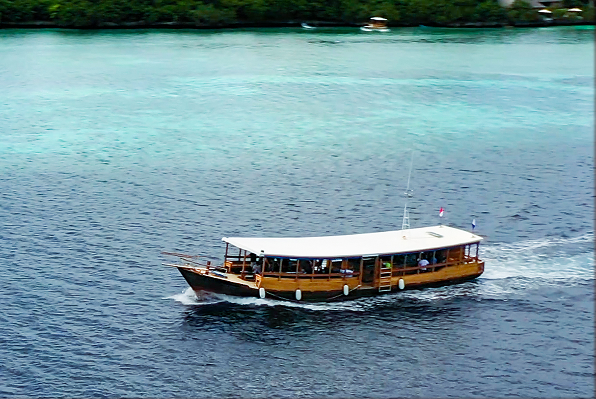 Wakatobi VIII is a traditional design hand-built by a team of local artisanal craftsmen. At 22.7-meters/74.6 feet long and 5.2 meters/17.2 ft wide, there's' a whole lot of room onboard. Photo by Chris Gloor