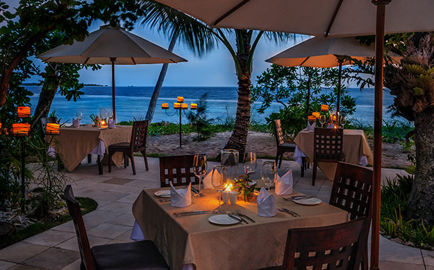 Dining with a view on Wakatobi's restaurant patio