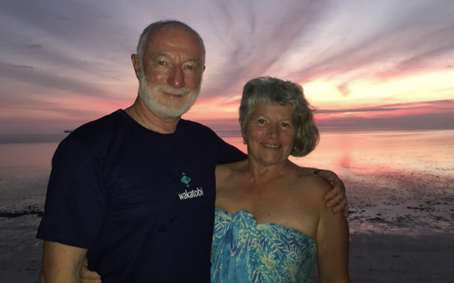 Wade and Robyn Hughes have visited Wakatobi nine times. Wade has logged more than 400 photographic dives on Wakatobi's reefs while Robyn has snorkeled extensively and, when not at sea, has focused her lens on local life and the environment.