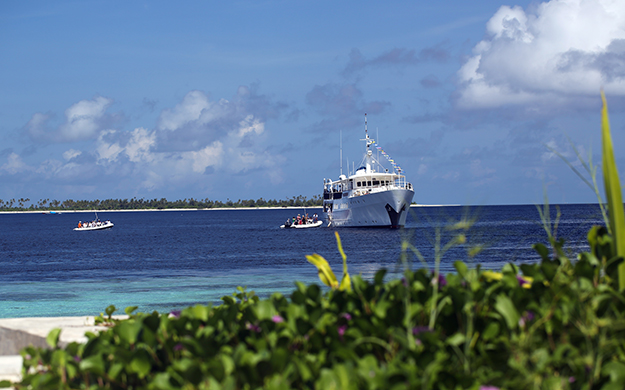 Pelagian returns to the Resort each week so connecting land and liveaboard itineraries is easy. Photo by Wakatobi Resort