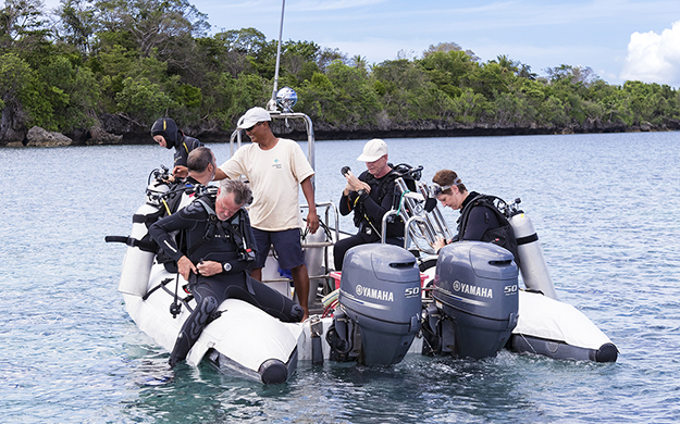 Dives are conducted from a pair of custom-fabricated 18-foot/5.5m rigid hull inflatable dive tenders.