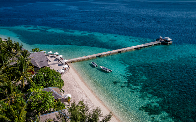 Wakatobi's expansive House Reef starts right off the resort beach, and has been named the World's Best Shore Dive. Dives can begin right from shore or the resort pier.