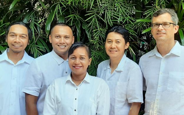 Your Wakatobi concierge team. Pictured (l to r): Dharma, Ricky, Debby, Satria, and Stijn. Photo by Wakatobi Resort