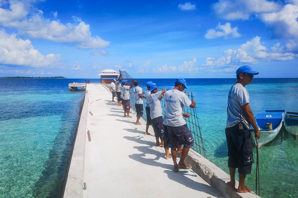 With no guest traffic during the pandemic, Wakatobi's local team had the opportunity to widen and smooth the jetty.