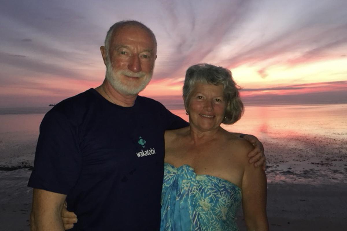 Wade and Robyn Hughes enjoying a sunset at Wakatobi.